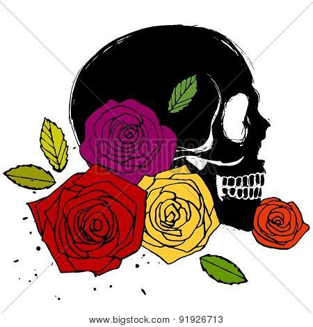 Side Face Skull With Roses