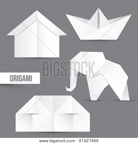 Origami Vector Set. House, Ship And Elephant. White Papper Design