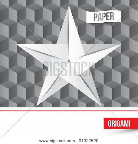 Vector Paper Origami Star Icon On 3D Cube Background. Company Logo Template.