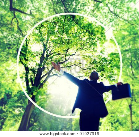 Green Business Success Happiness Forest Freedom Concept