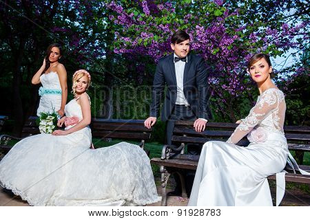 Groom With Three Brides