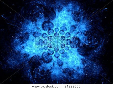 Blue Glowing Space Fractal Background