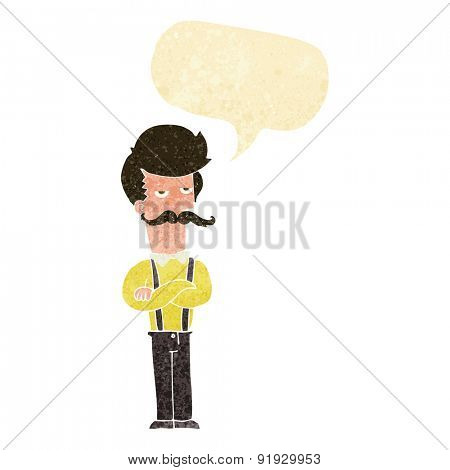 cartoon man with mustache with speech bubble