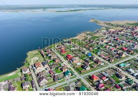 Private houses on bank of lake