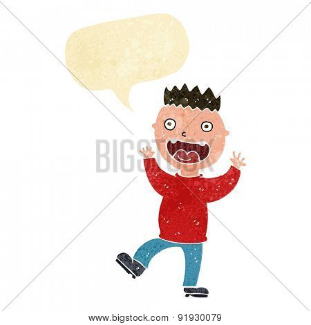 cartoon crazy happy man with speech bubble