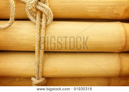 Bamboo Panel With A Rope Tied
