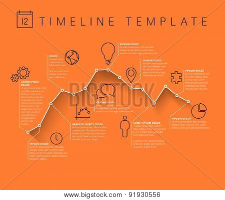 Vector Infographic orange timeline report template with minimalistic graph
