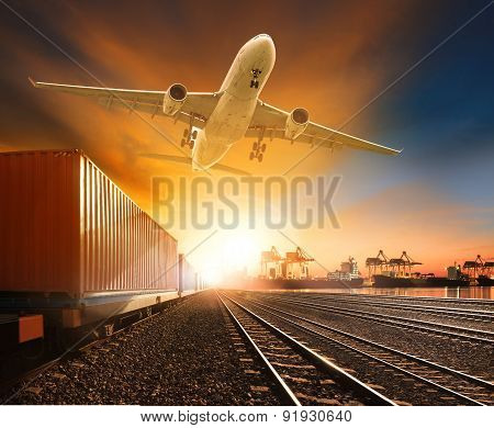 Industry Container Trainst Running On Railways Track Plane Cargo Flying Above And Ship Transport In