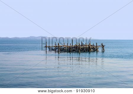 Fishing Net At An Artifical Bamboo Island