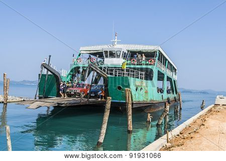Ferry Arrives At The Island Of Koh Chang