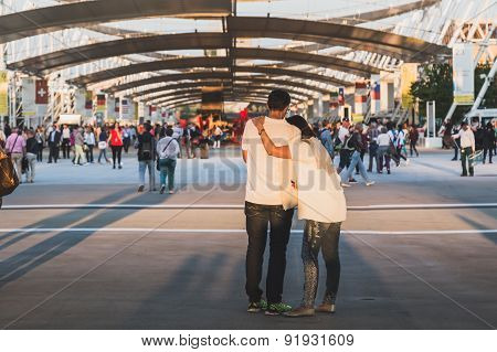 People Visiting Expo 2015 In Milan, Italy