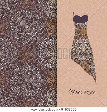 Floral Seamless Pattern With Fashion Sample Dress