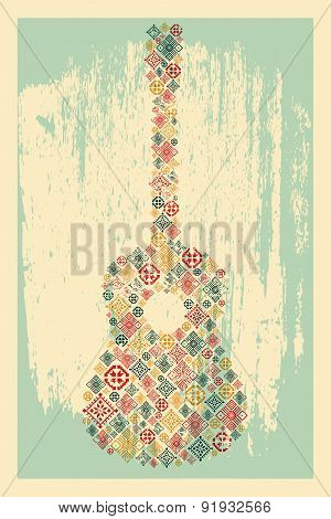 Music poster. Guitar concept made of folk ornament. Vector illustration.
