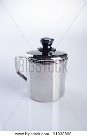 Stainless Steel Mug On Background