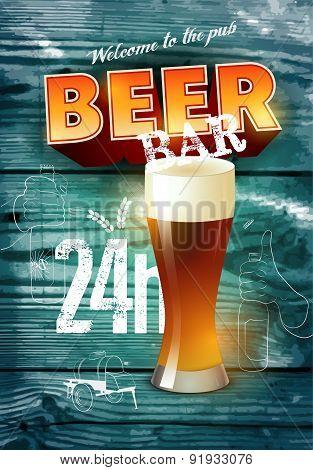 Vintage grunge style beer bar poster on realistic wooden background. Vector illustration.