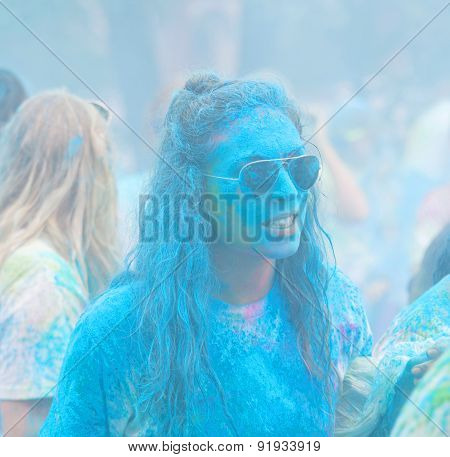Girl Compleatly Coveded With Blue Color Powder