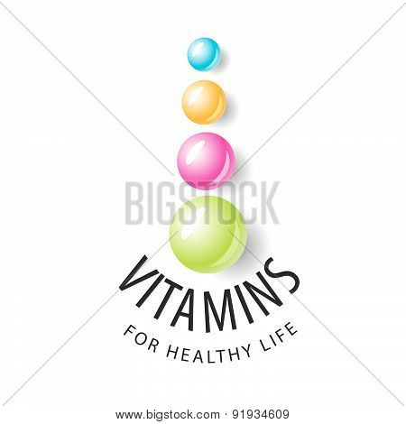 Vector Logo Vitamins In The Form Of Colored Balls