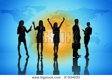 Business people colorful background