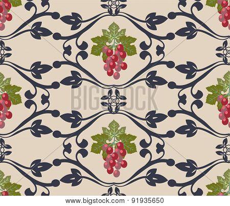 Beautiful Grape Vines Seamless Background