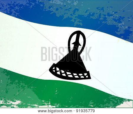 Lesotho Flag Grunge