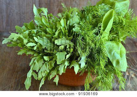 Fresh arugula, fennel, spinach