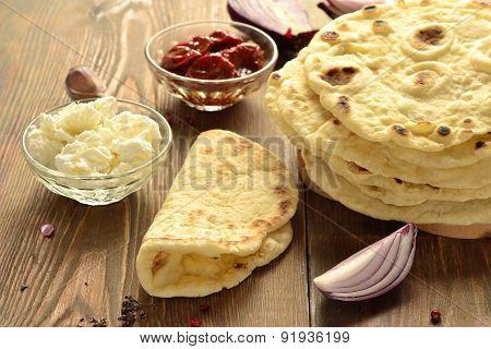 Freshly baked pita bread