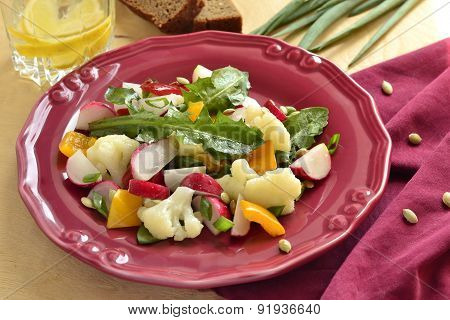 Salad with cauliflower radish sweet pepper and greens