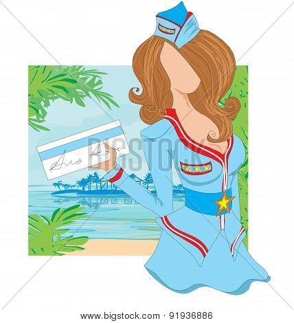 Stewardess With Ticket