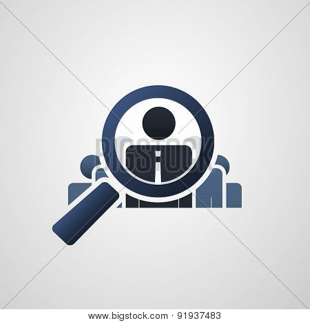 Human Resources - Personal Audit - Headhunter Symbol Design with Magnifying Icon