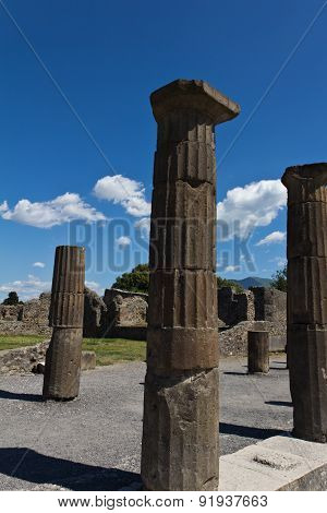 Excavated Stone Columns In The Forum In Pomeii