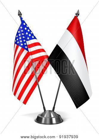USA and Yemen - Miniature Flags.