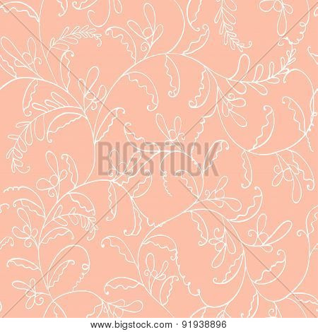 seamless line cute floral pattern. retro vector background for your design