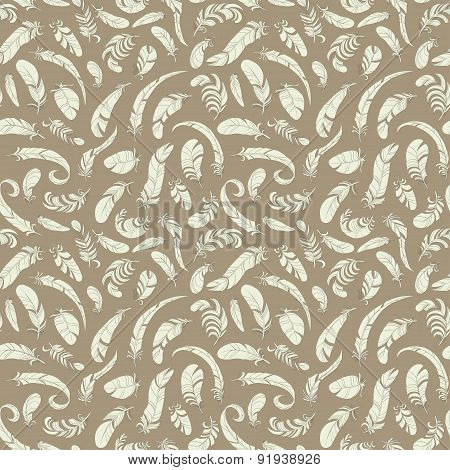 flying feathers seamless pattern. retro vector background