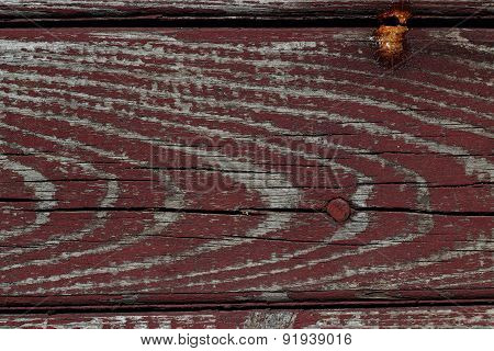 Textured Wood Plank With A Nail