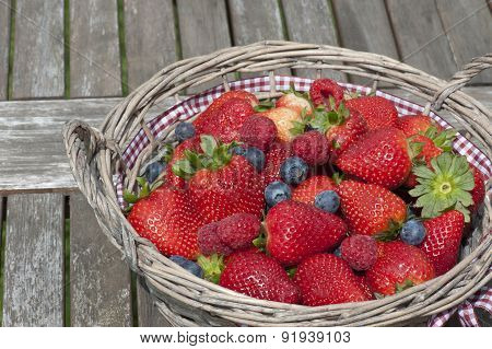 Strawberries, Blueberries, Raspberries Mix In The Basket