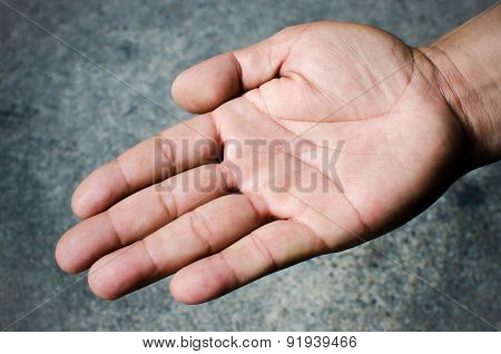 Hand of young man. Close up image
