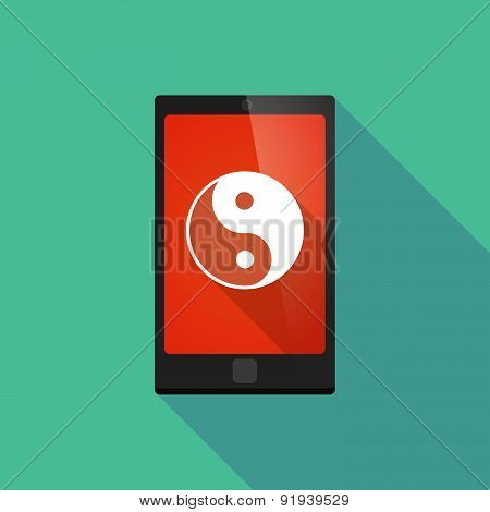 Long Shadow Phone Icon With A Ying Yang