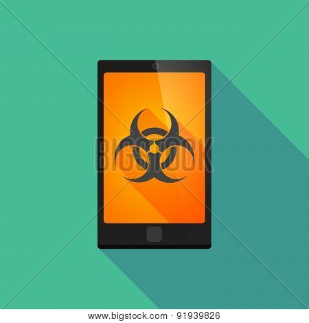 Long Shadow Phone Icon With A Biohazard Sign