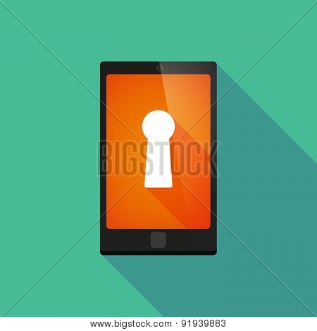 Long Shadow Phone Icon With A Key Hole