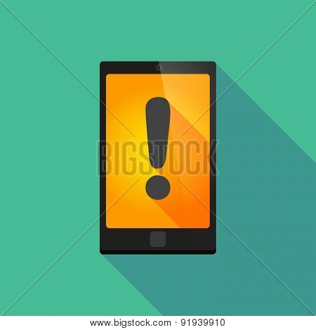 Long Shadow Phone Icon With An Exclamation Sign