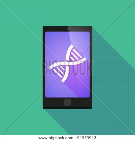 Long Shadow Phone Icon With A Dna Sign