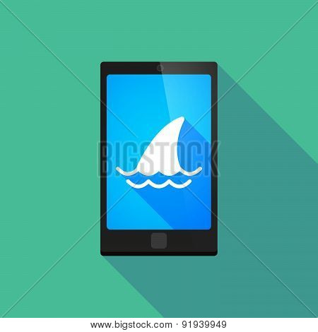 Long Shadow Phone Icon With A Shark Fin