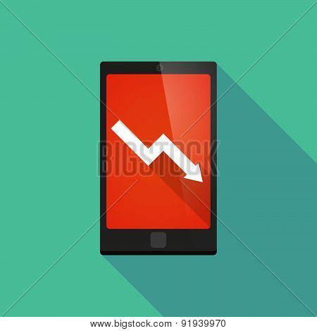 Long Shadow Phone Icon With A Graph