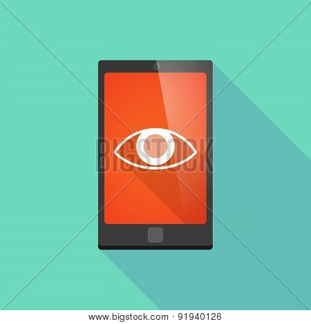 Long Shadow Phone Icon With An Eye