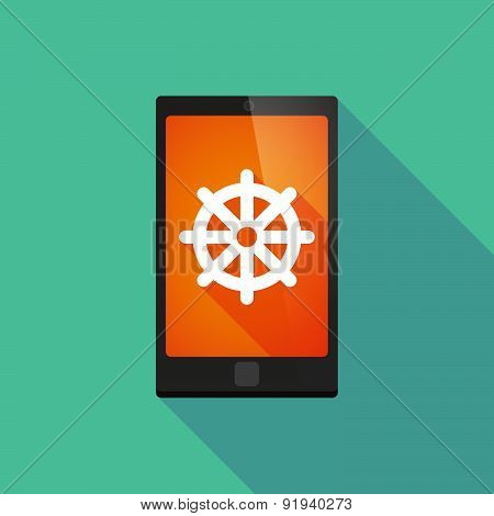 Long Shadow Phone Icon With A Dharma Chakra Sign