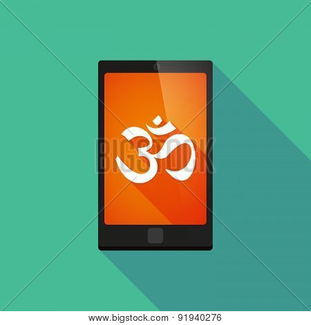Long Shadow Phone Icon With An Om Sign