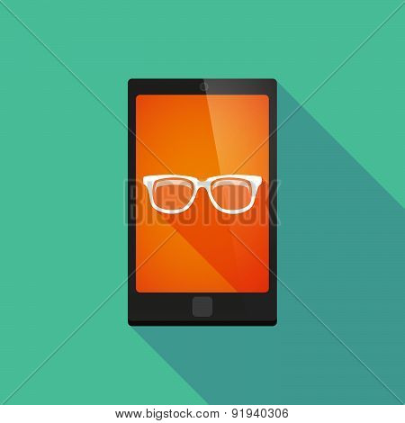 Long Shadow Phone Icon With A Glasses
