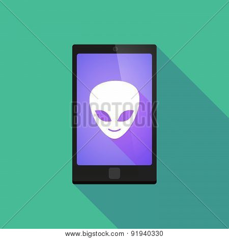 Long Shadow Phone Icon With An Alien Face