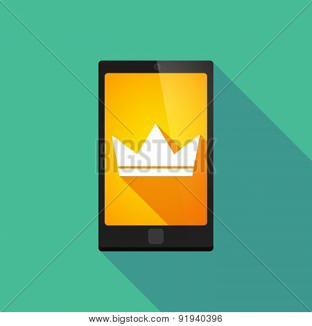 Long Shadow Phone Icon With A Crown