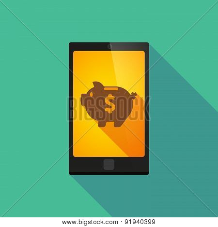 Long Shadow Phone Icon With A Piggy Bank